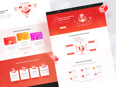 Social cube website icon web design interface ux ui