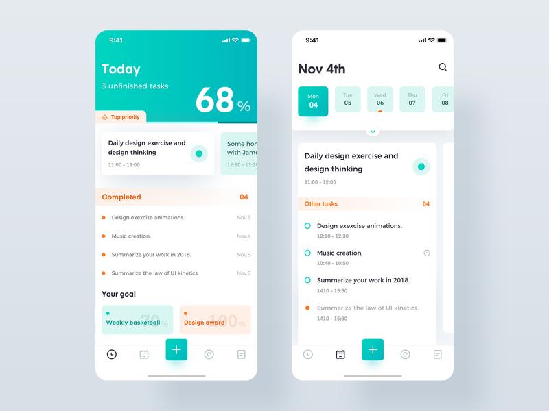 Task management manager task green design interface ux app ui