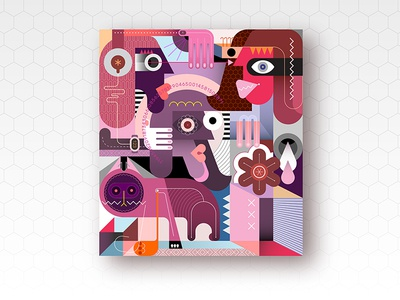 Three People And A Cat kitty pet composition contemporary art modern abstract shape geometric woman man purple pink violet illustration vector face collage cat people