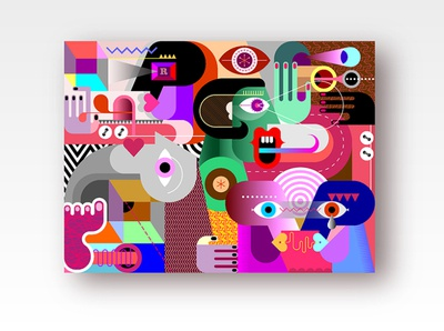 The interaction of people with each other portrait absurd face abstract art modern art artistic fine art painting concept interaction contemporary modern illustration artwork art vector life ordinary abstract people