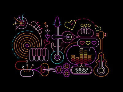Neon Abstract Music Art vector illustration computer concert silhouette design trumpet piano key piano guitar illustration isolated vector abstract equipment equalizer disco flower poster festival music neon