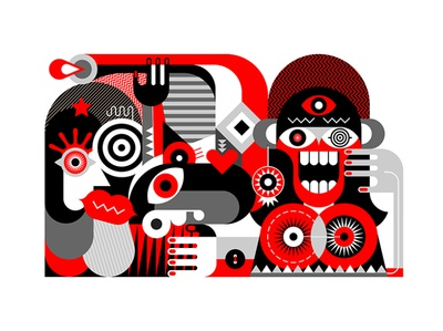 Crazy woman with her bizarre friends scream shout group painting fine art abstract portrait wondered surprised joyful madness illustration vector face friends woman man people bizarre crazy