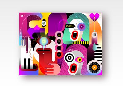 Jazz Band festival party instrument wine bottle trio sax saxophone piano vocal concert art artwork modern musical music musicians illustration vector band jazz