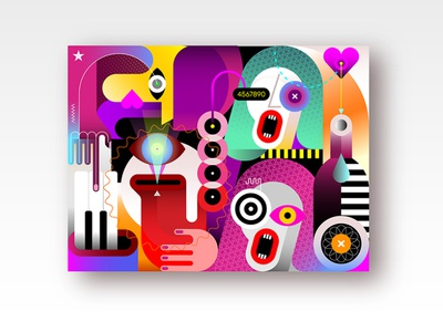 Jazz Band festival party instrument wine bottle trio sax saxophone piano vocal concert art artwork modern musical music musicians illustration vector band jazz