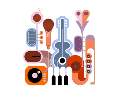 Musical Instruments Design band composition artwork art illustration vector object different design flat piano keyboard gramophone microphone trumpet piano saxophone guitar musical musical instrument music