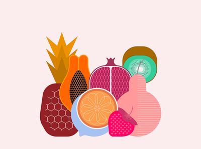 Mix Of Tropical Fruits dessert fruity summer illustration vector color ripe isolated design set mix fruit tropical papaya citrus pomegranate kiwi pear pineapple strawberry
