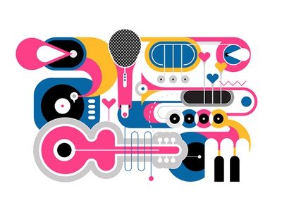 Musical Instruments composition artwork art illustration vector object isolated different design flat piano key gramophone microphone trumpet piano saxophone guitar musical musical instrument music