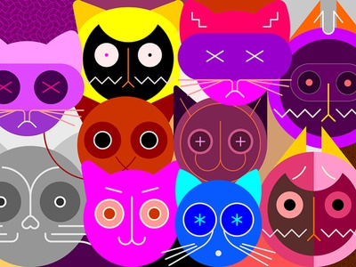 Cats pet catlike feline cat head cat face artistic art abstract head set design pussycat kitty illustration vector face cat