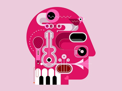 music head artwork piano keyboard piano keys piano microphone saxophone sax trumpet guitar minds isolated jazz vector human head music instruments art abstract head music musically