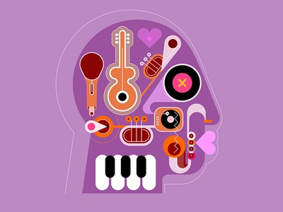music head artwork piano keyboard piano keys piano microphone saxophone sax trumpet guitar minds playing music isolated jazz vector human head music instruments art abstract head music