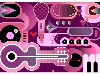 Abstract Music Background pink violet purple color shades saturated background design acoustic guitar piano keys piano keyboard gramophone microphone trumpet piano saxophone guitar musical musical instrument music
