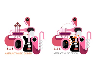 Abstract Music Design white background concert band concept art illustration vector isolated object various mix composition design trumpet saxophone guitar abstract musical musical instrument music