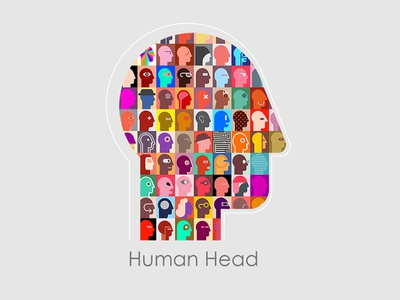 a Head various diversity stuff content collection portrait isolated design collage illustration abstract art art people vector abstract human man avatar profile head