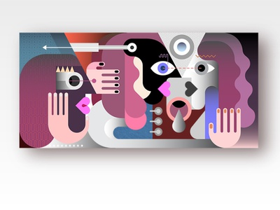 Three People witness face female male conceptual concept artwork couple person character contemporary modern illustration abstract art graphic woman man portrait people