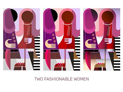 Two Fashionable Women portrait retro people artwork illustration graphic colored art modern talking two head faceless beautiful vector fashion stylish girl women fashionable