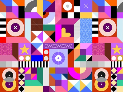 Abstract Seamless Geometric Design patchwork flat composition heart pattern cube shape colorful design geometric background tile seamless artwork illustration vector abstract art geometry
