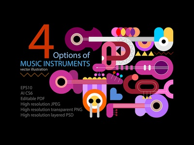 Cover for set of Music Instruments vector designs geometric illustration grid graphic abstract vector art colored colors drum stick drum piano keyboard piano trumpet saxophone sax guitar instrument music musical