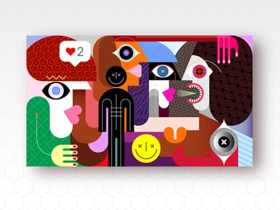 Group of People and Smiling Man Sign emotional emotion talk meet conversation emoji smiling smiley smile fine art facial expression face illustration group portrait people woman man abstract art