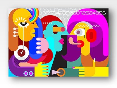 Three People painting fine art picasso people illustration abstract face portrait