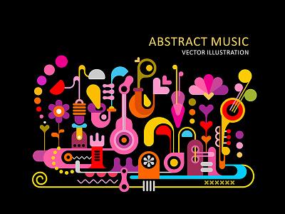 Abstract Music summer trombone saxophone sax trumpet guitar music black design art abstract