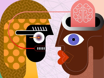 Couple Looking to Each Other tension confrontation people talking hypnosis head consciousness brain telepathy artwork art vector thinking face to face conversation communication face couple painting people illustration