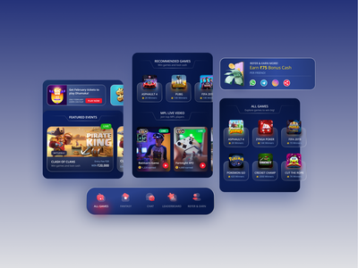 Gaming App Concept uidesign glassmorphism app