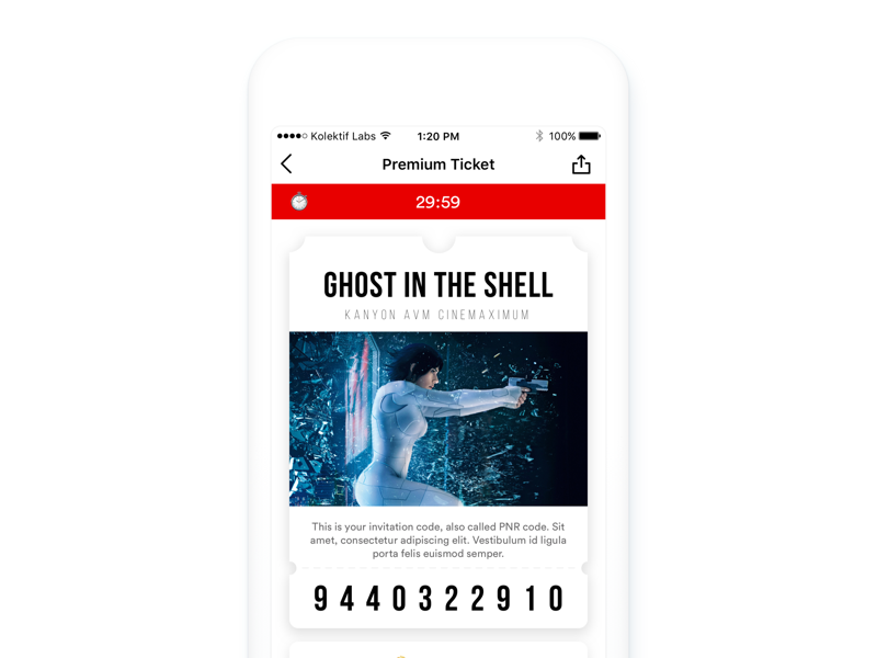 Movie Ticket - Sinemia App by Mert Erdir for KOLEKTIF LABS on Dribbble