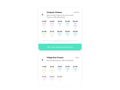 Showtimes - Sinemia App