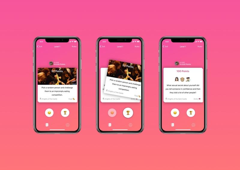 Pubstory - Drinking Game App pubg swipe card game interaction design interaction social drunk bar pub