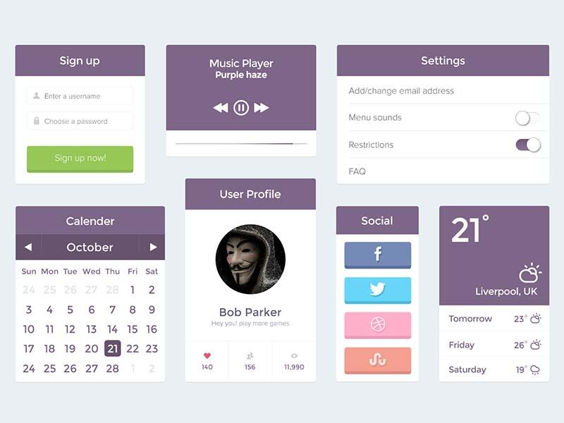 Purple UI Kit - PSD ui purple kit psd photoshop user profile calender music player
