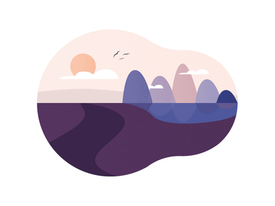 Landscape shape elements shape sun vector illustration mountains landscape