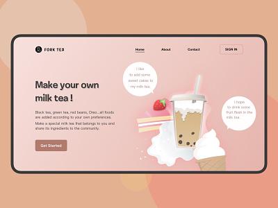 LandingPage-DailyUI03-Milk Tea web landing page ui illustration