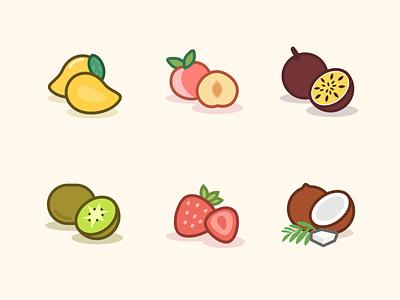 Fruit Icon Set illustration line coconut strawberry peach mango icon