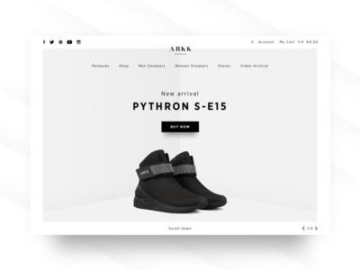 Arkk landing page clean minimal shoes arkk