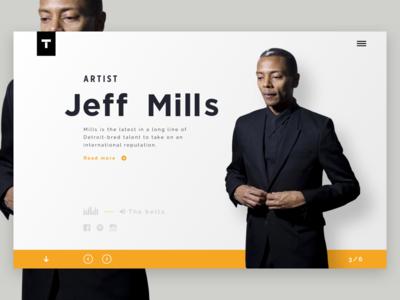 Techno artist - Jeff Mills jeff mills clean header artist minimal ux ui music techno