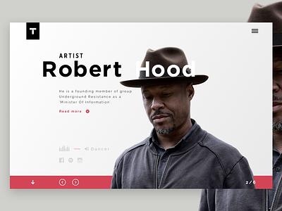 Techno artist - Robert Hood robert hood clean header artist minimal ux ui music techno