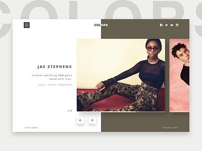 Colors Studios - Jae Stephen header landing page music hip hop clean minimal colors berlin colors