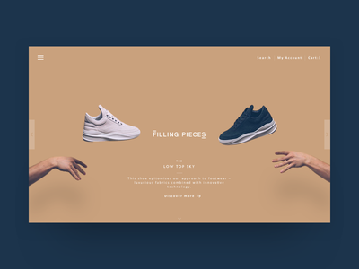 Filling Pieces - landing page clean minimal shoes landingpage header