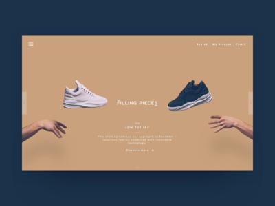 Filling Pieces - landing page clean minimal shoes landingpage header