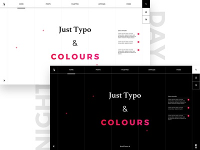 Just Typo & Colours visual nightmode daymode clean colours typo ux ui minimal