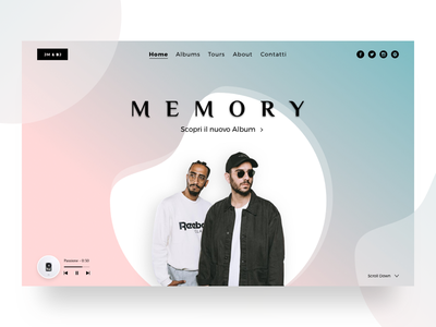 Jm & Bj landingpage homescreen clean minimal music singers rappers
