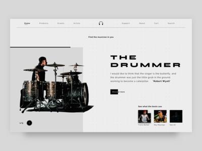 The Drummer drummer music landing page clean header ux ui minimal
