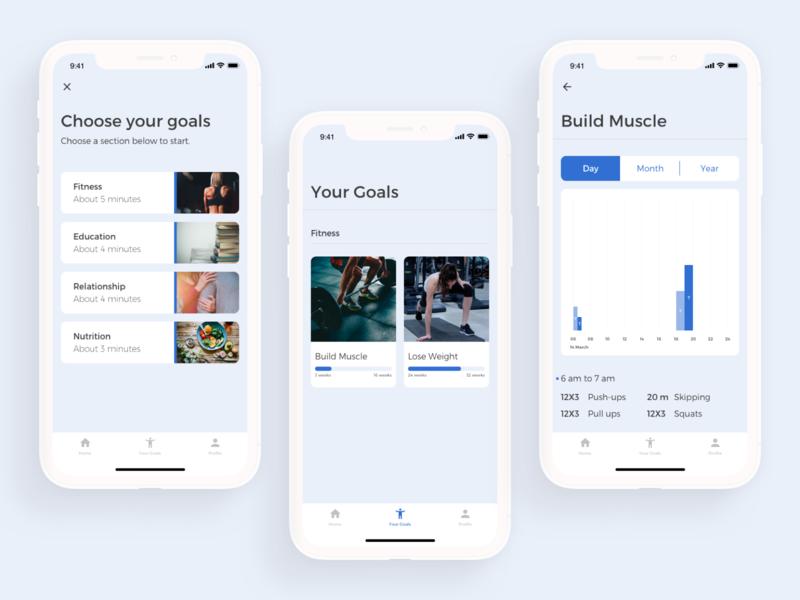 Goals tracking App tracking app data goals fitness app app ui ux clean minimal