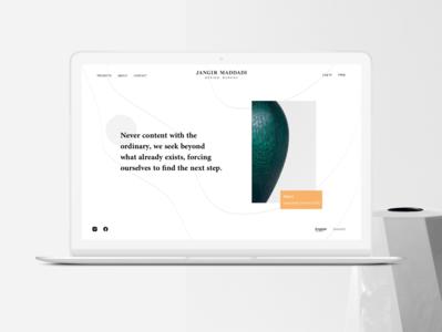 Jangir Maddai - Unofficial redesign product design interior design visual landing page header ui ux clean minimal