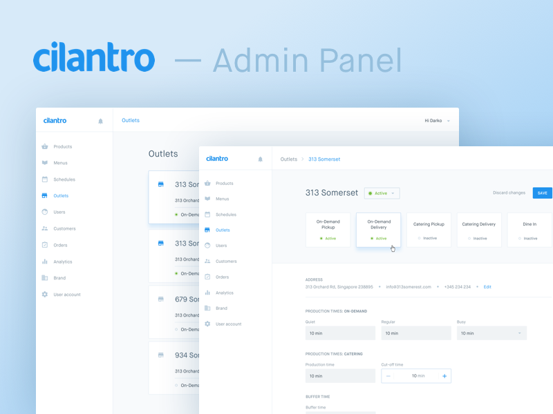 Simple & Clean Admin Panel — Cilantro rw recent work backend ui ux interface design clean white simple material design cms pannel admin