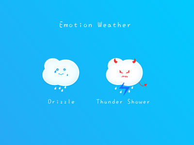 Emotion Weather part2 cry weather shower thunder sticker devil sketch emotion drizzle cloud blue icon