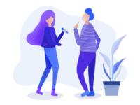 Two people illustration