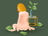 Naked Girl with plants