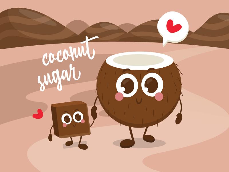 Coconut Sugar cartoon illustration
