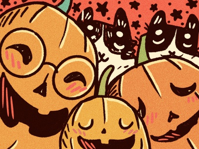 Spooky family illustration spooky pumpkins halloween